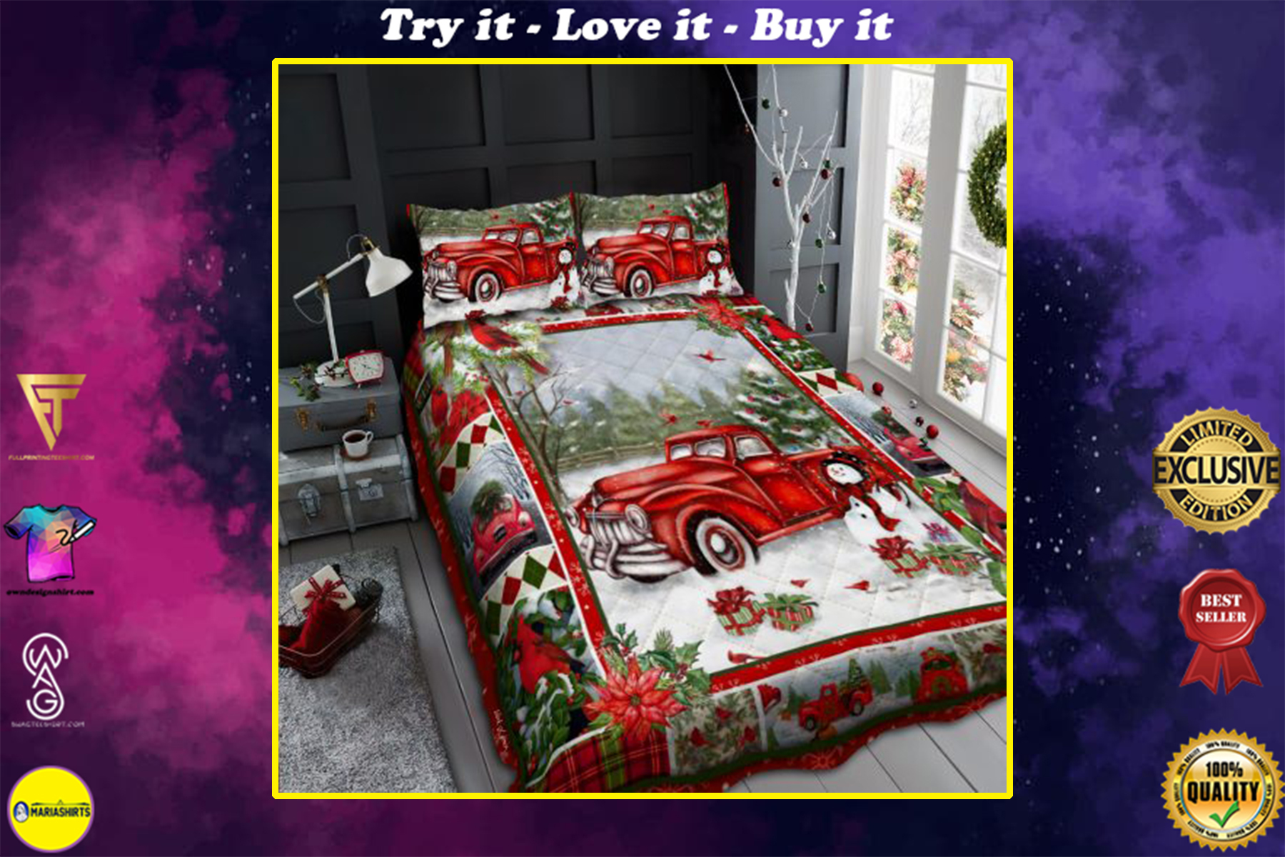 merry christmas and red truck all over print bedding set