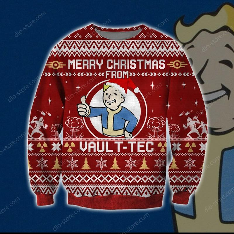 merry christmas from vault-tec all over printed ugly christmas sweater 3