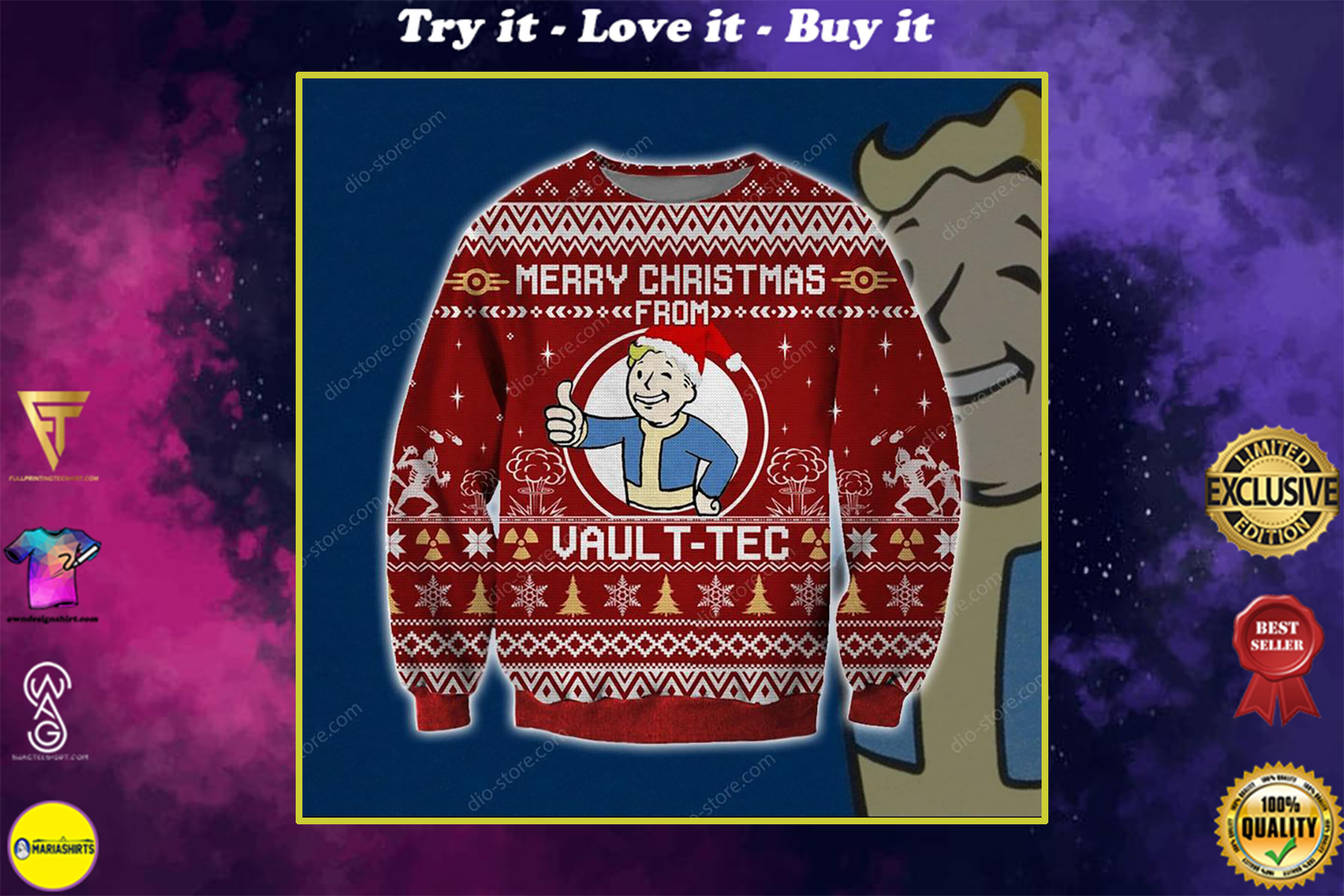 merry christmas from vault-tec all over printed ugly christmas sweater