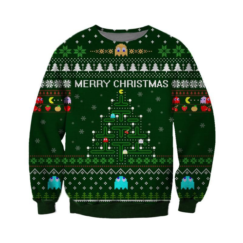merry christmas pacman all over printed ugly christmas sweater 2