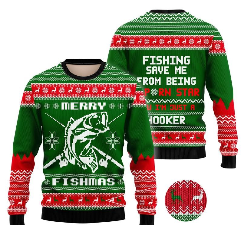 merry fishmas fishing all over printed ugly christmas sweater 2 - Copy (2)