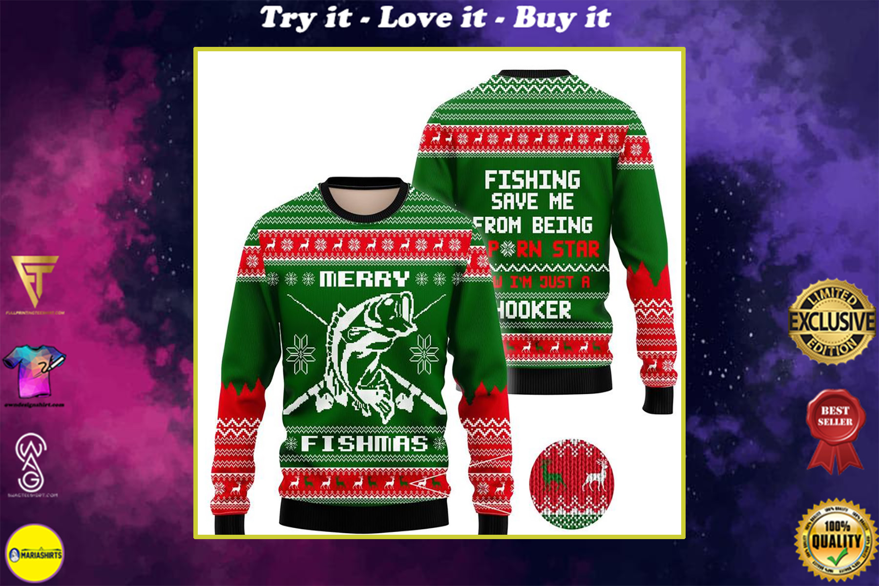merry fishmas fishing all over printed ugly christmas sweater