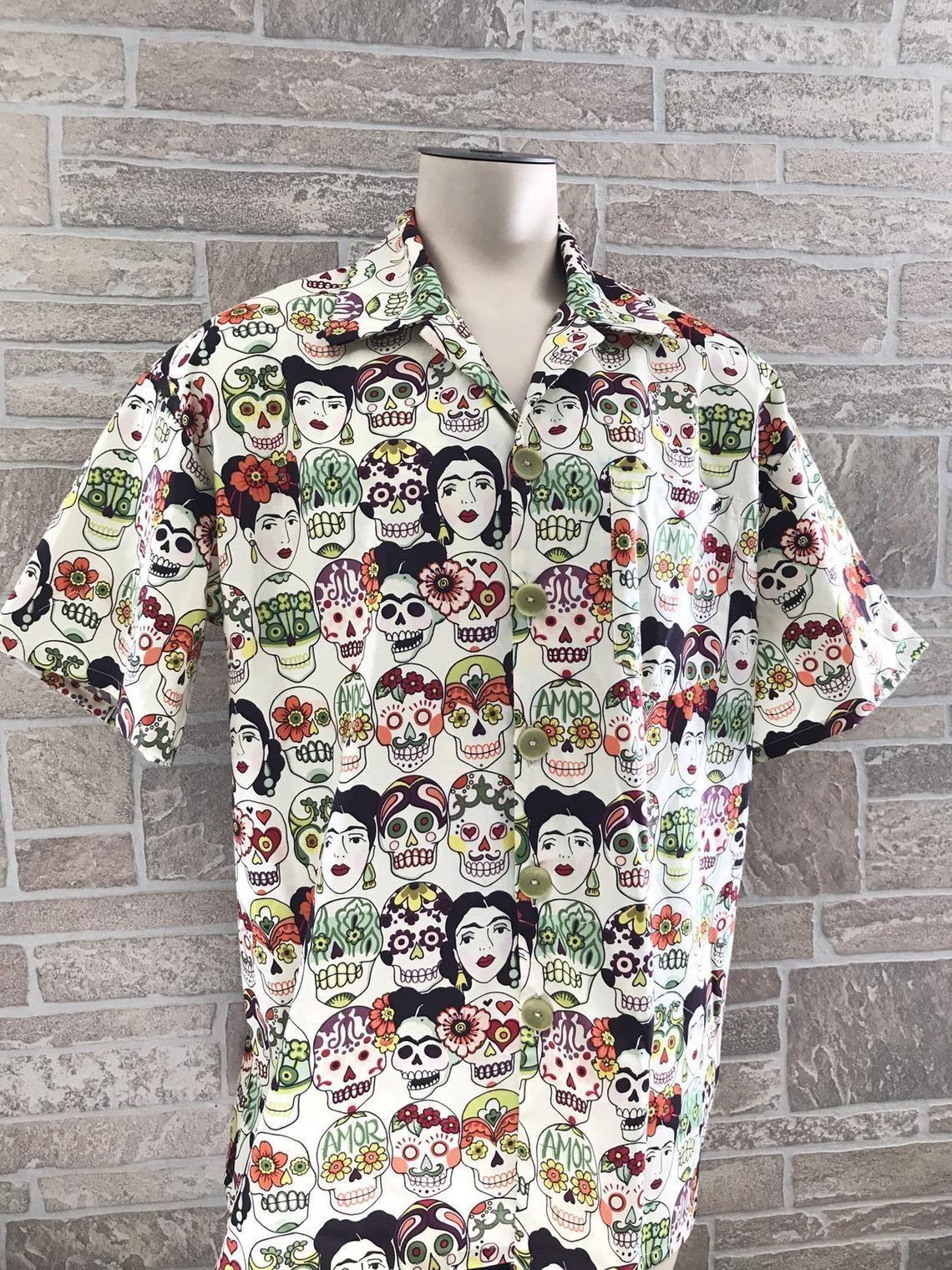 mexican inspired all over printed hawaiian shirt 3