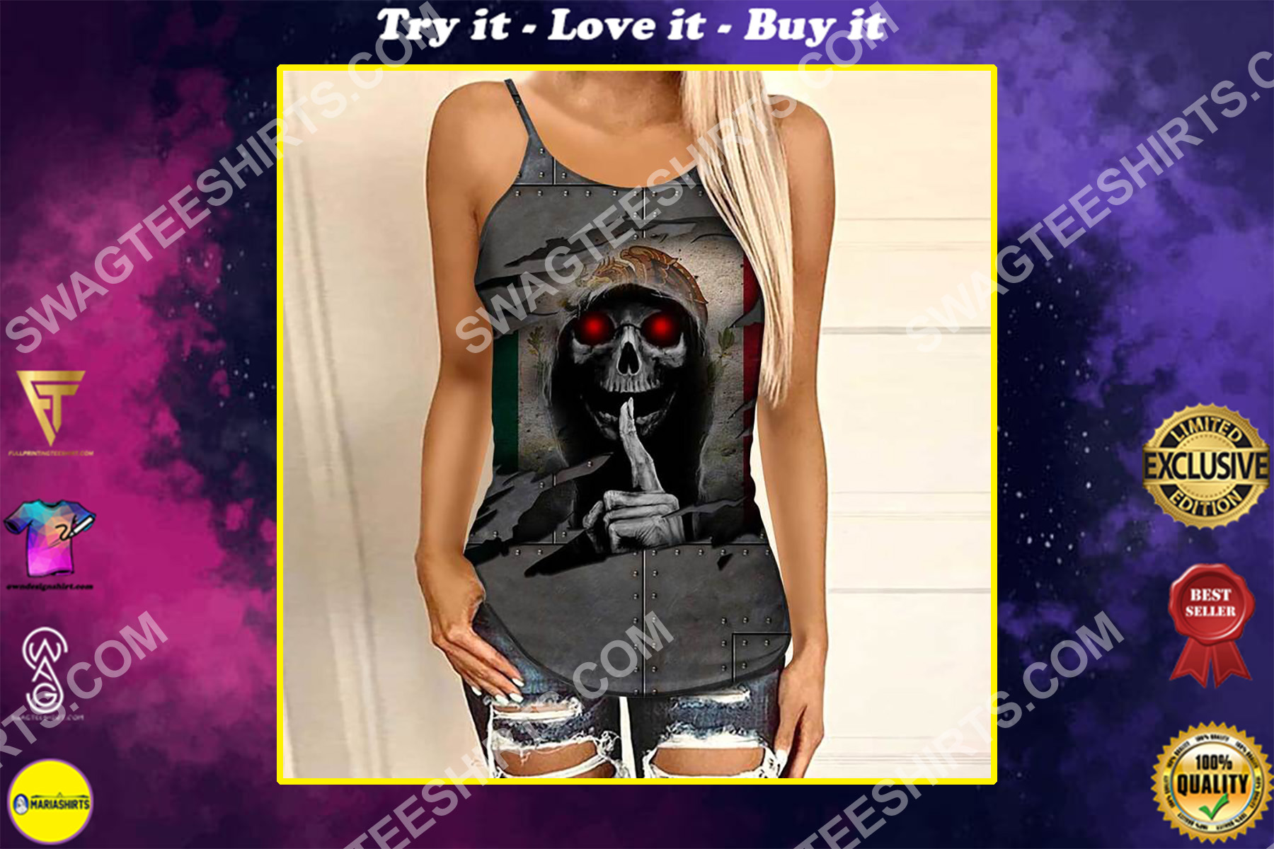 mexico flag and skull all over printed strappy back tank top