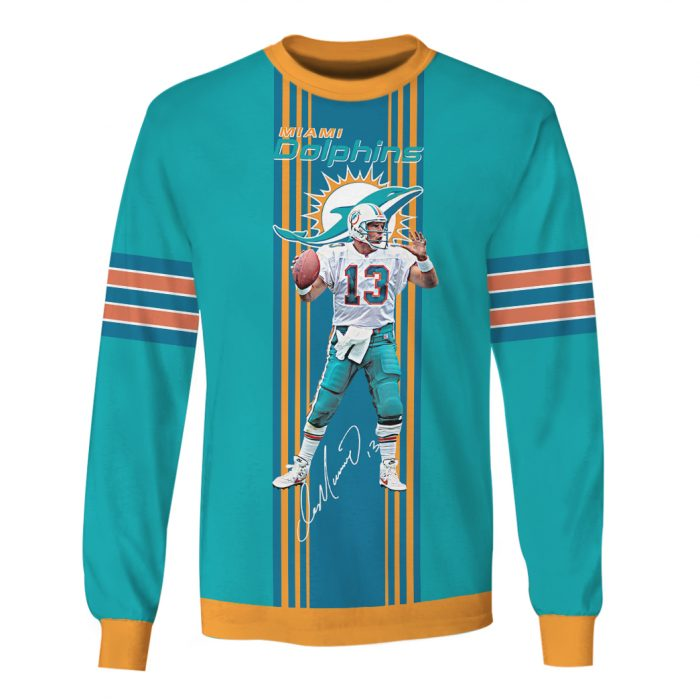 miami dolphins dan marino 13 full over printed sweatshirt