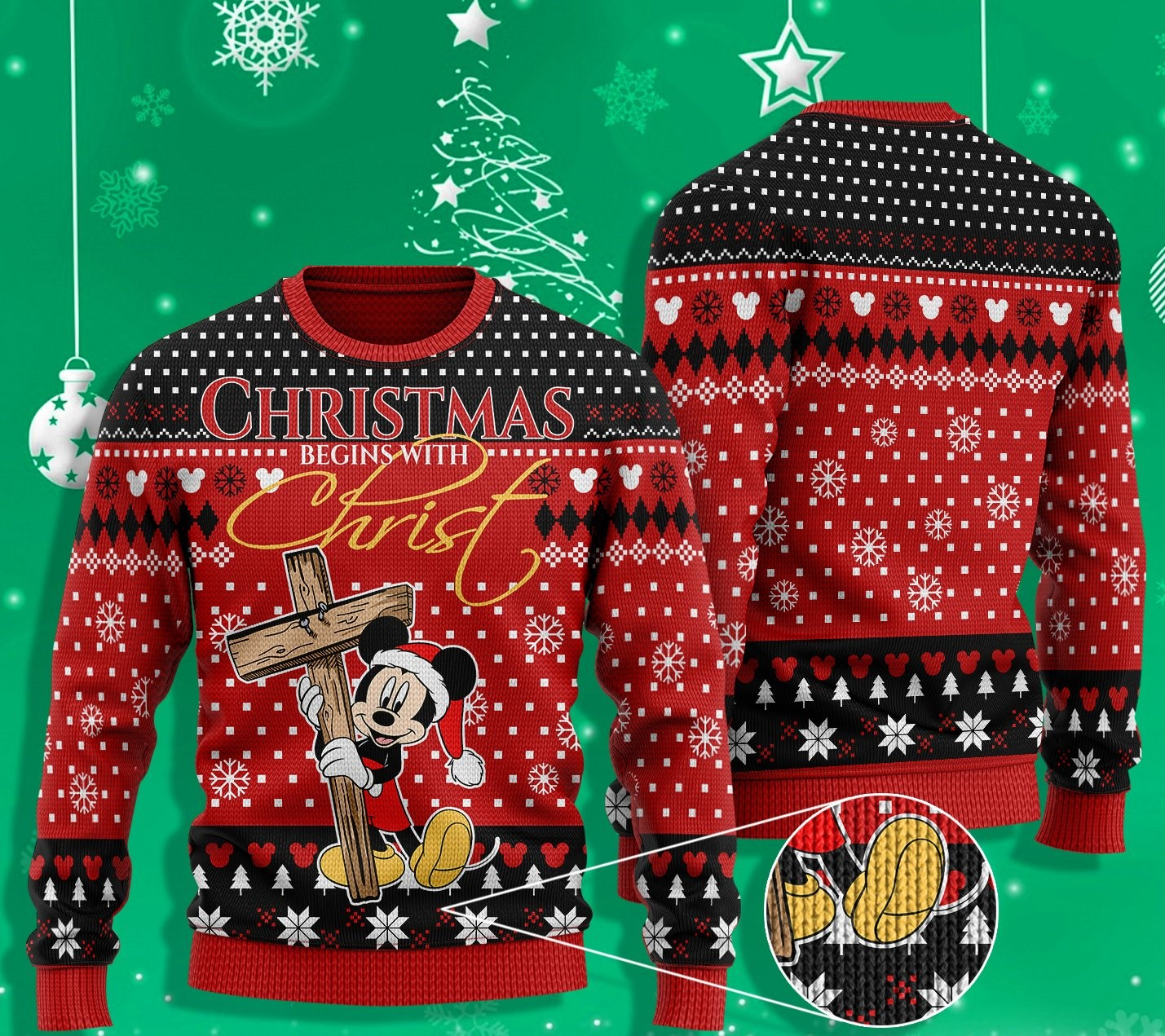 mickey mouse christmas begins with Christ ugly christmas sweater 2