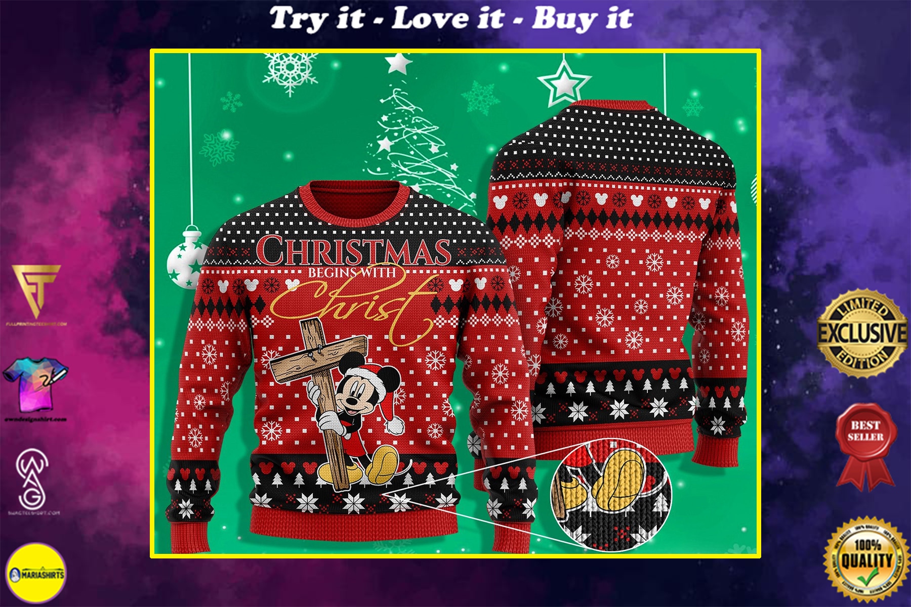 mickey mouse christmas begins with Christ ugly christmas sweater