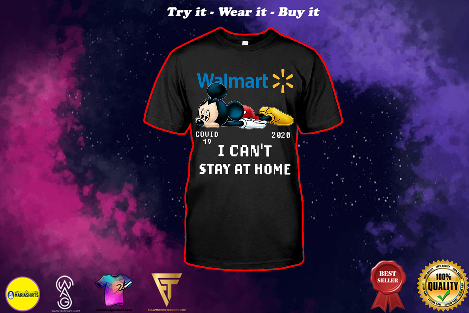 mickey mouse i cant stay home walmart covid 19 20202 shirt