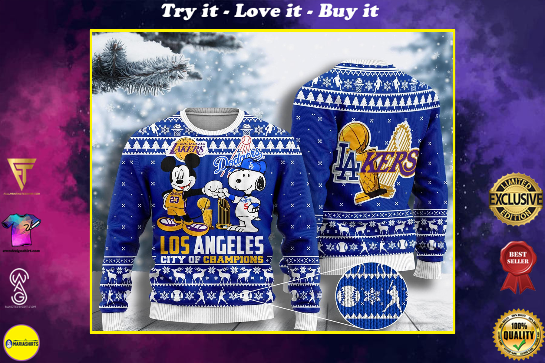 mickey mouse los angeles lakers and snoopy los angeles dodgers ugly christmas sweater