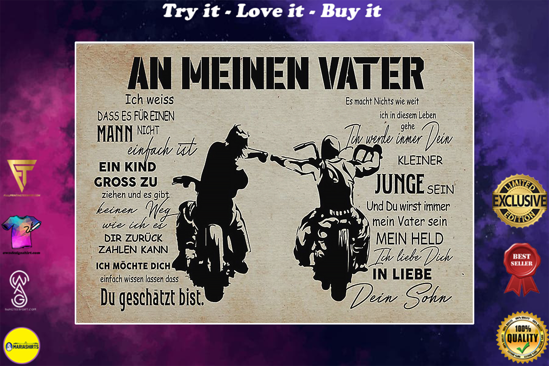 motorcycle an meinen vater dein sohn vintage poster