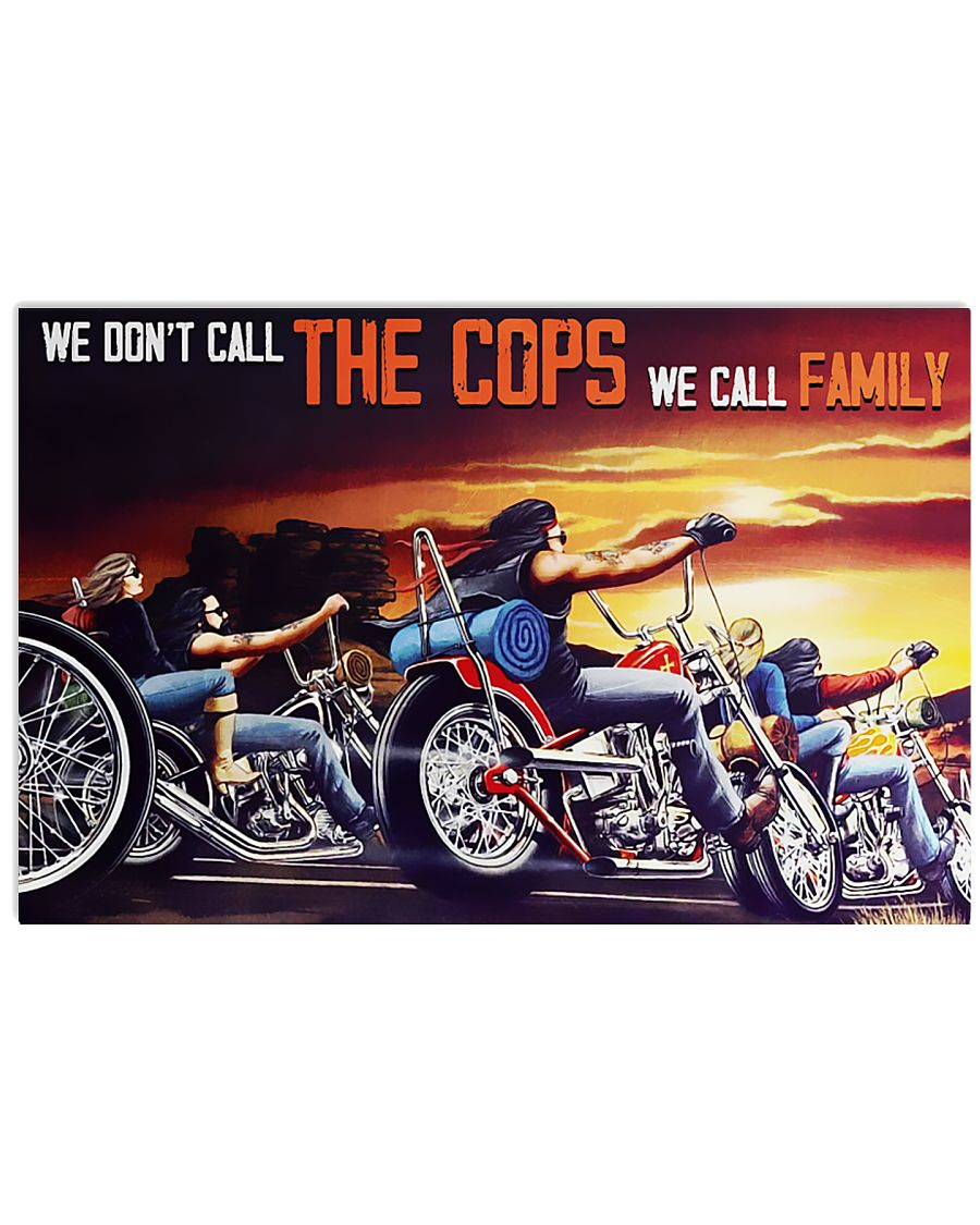 motorcycle we dont call the cops we call family vintage poster 1