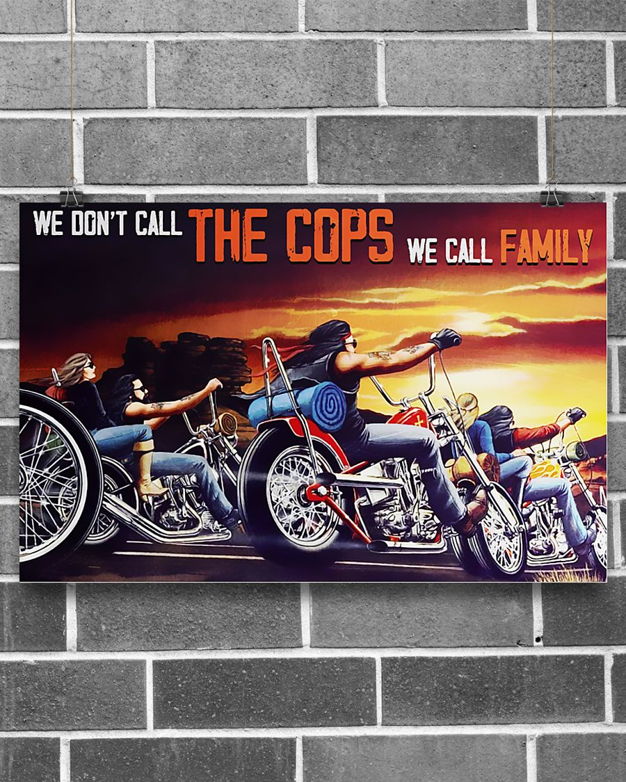 motorcycle we dont call the cops we call family vintage poster 2