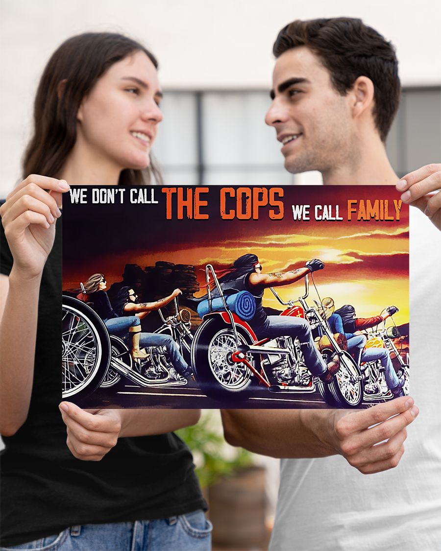 motorcycle we dont call the cops we call family vintage poster 3