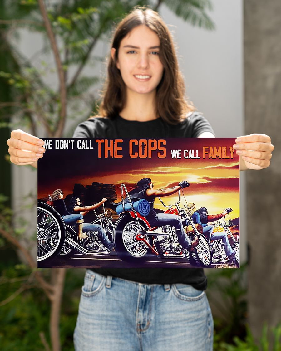 motorcycle we dont call the cops we call family vintage poster 4