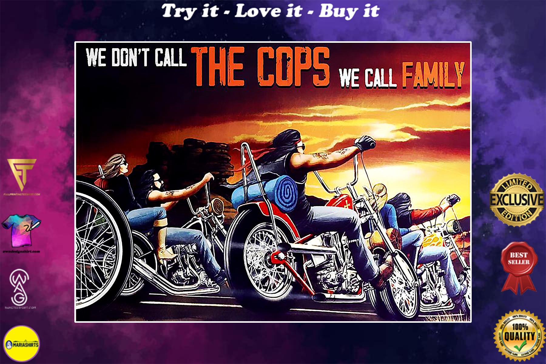 motorcycle we dont call the cops we call family vintage poster