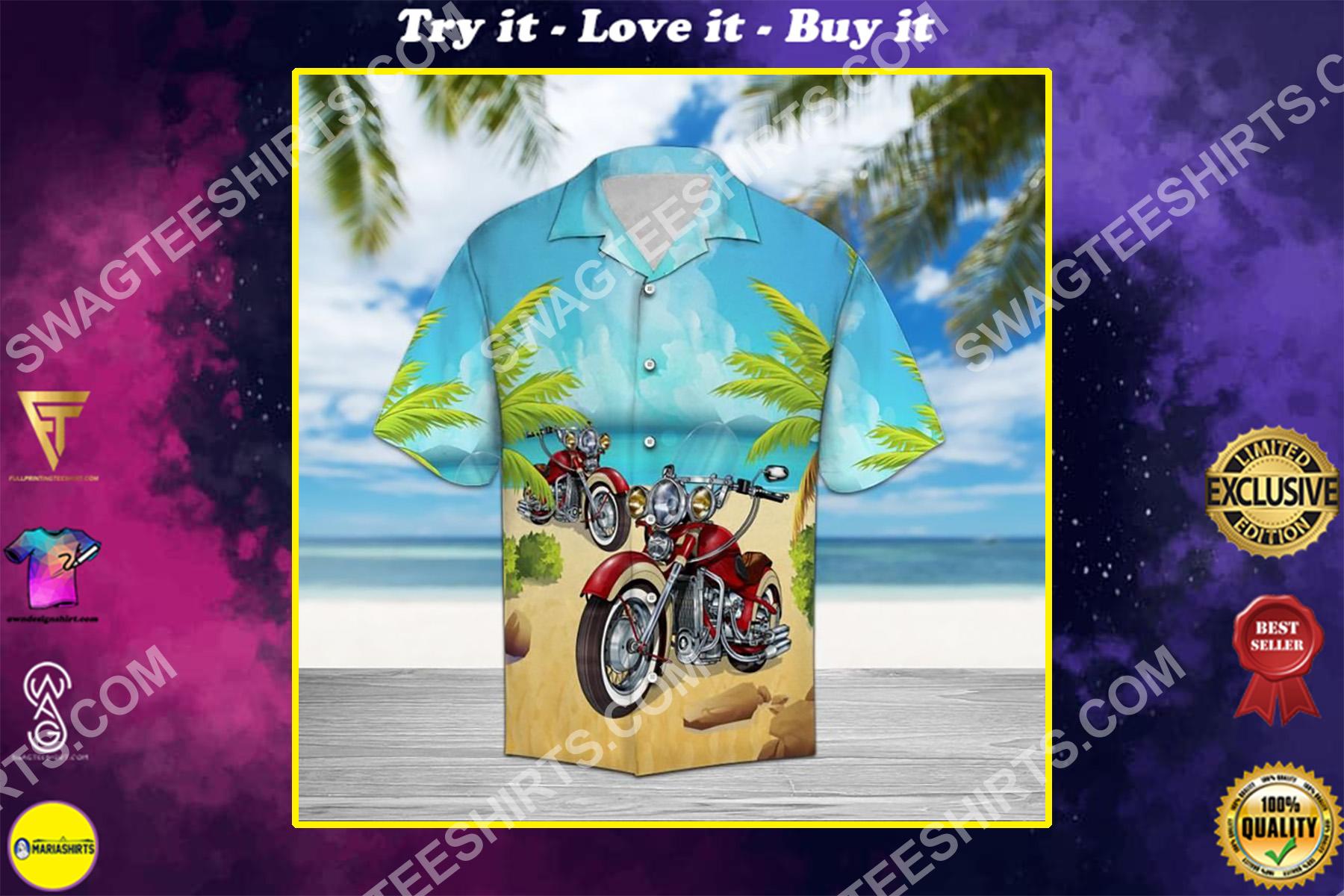 motorcycles aloha all over printed hawaiian shirt