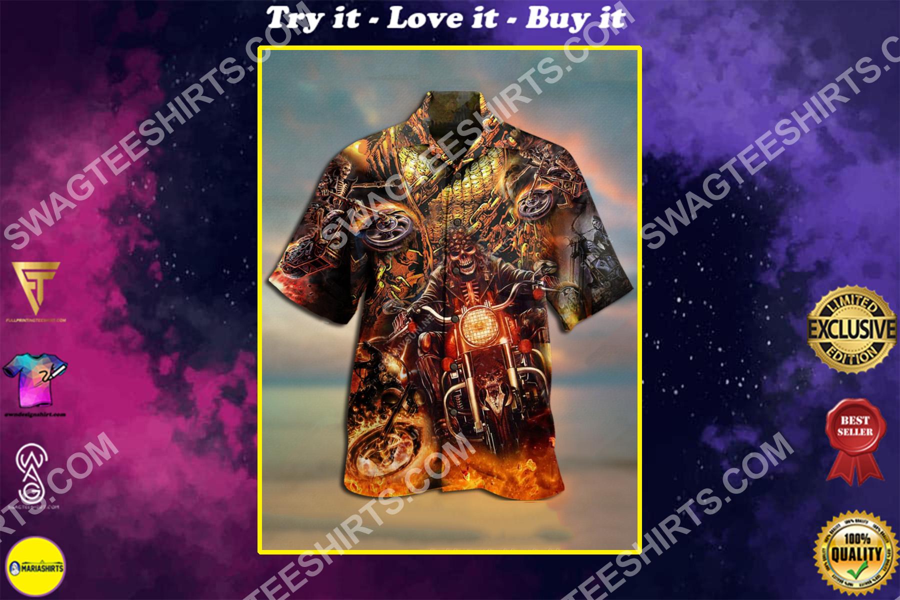 motorcycles skull all over printed hawaiian shirt