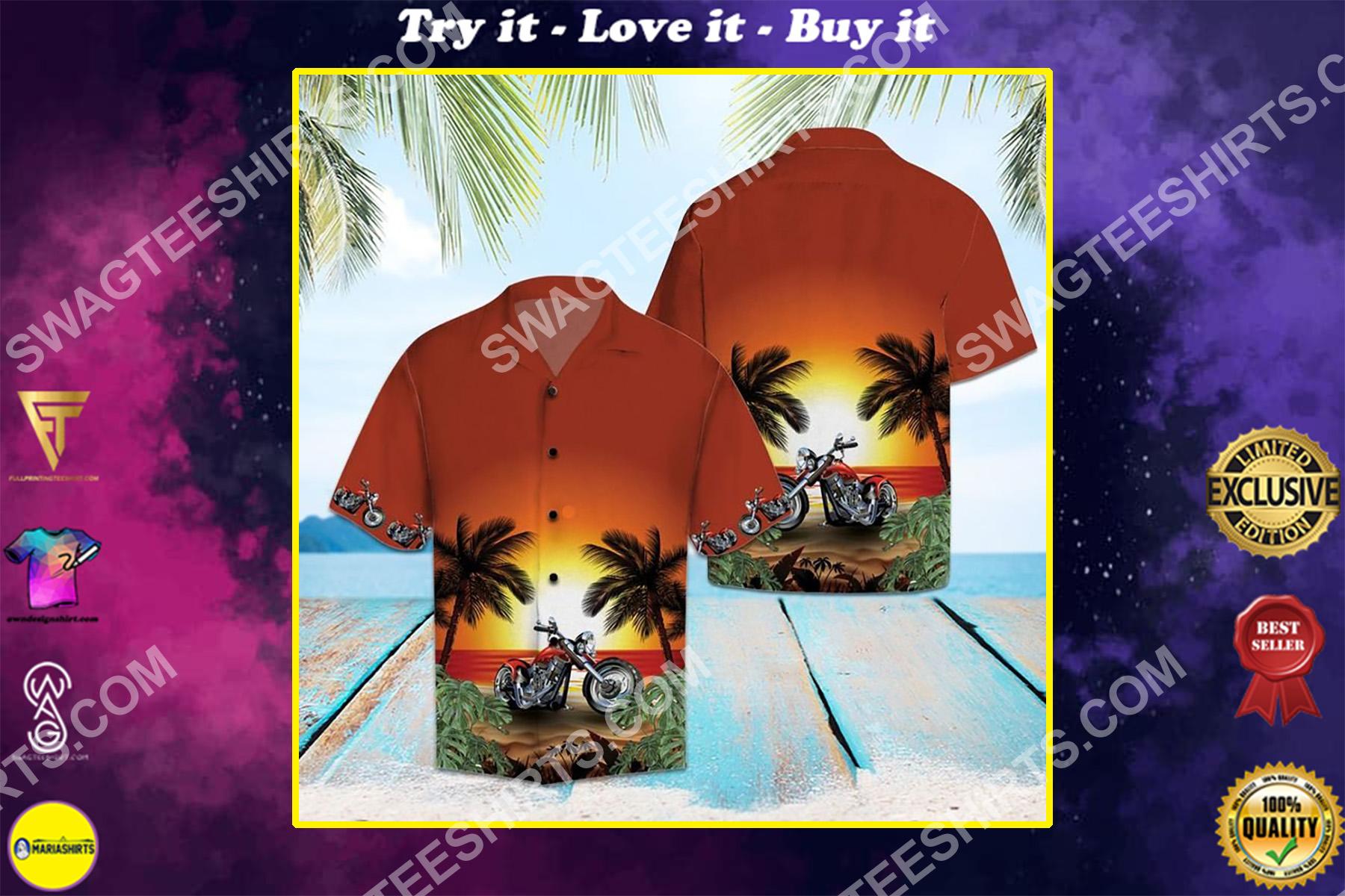 motorcycles sunset beach all over printed hawaiian shirt