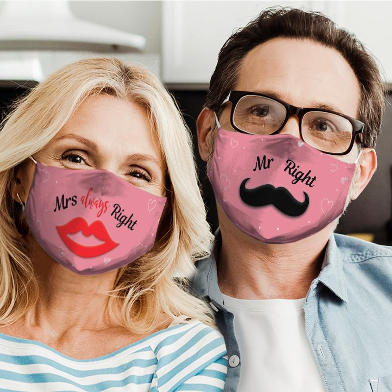 mr right couple all over print face mask 4