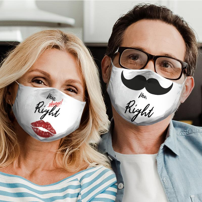mr right mustache for couple love all over print face mask 5