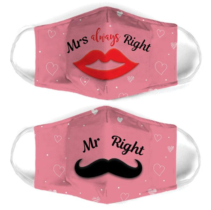 mrs always right couple all over print face mask 3