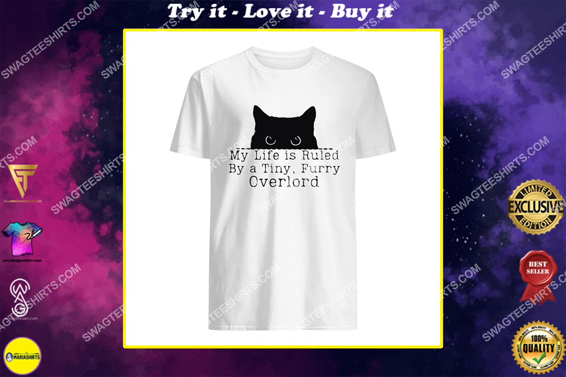 my life is ruled by a tiny furry overlord for cat lover shirt