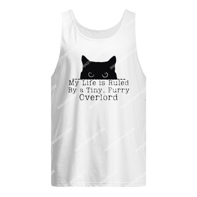 my life is ruled by a tiny furry overlord for cat lover tank top 1