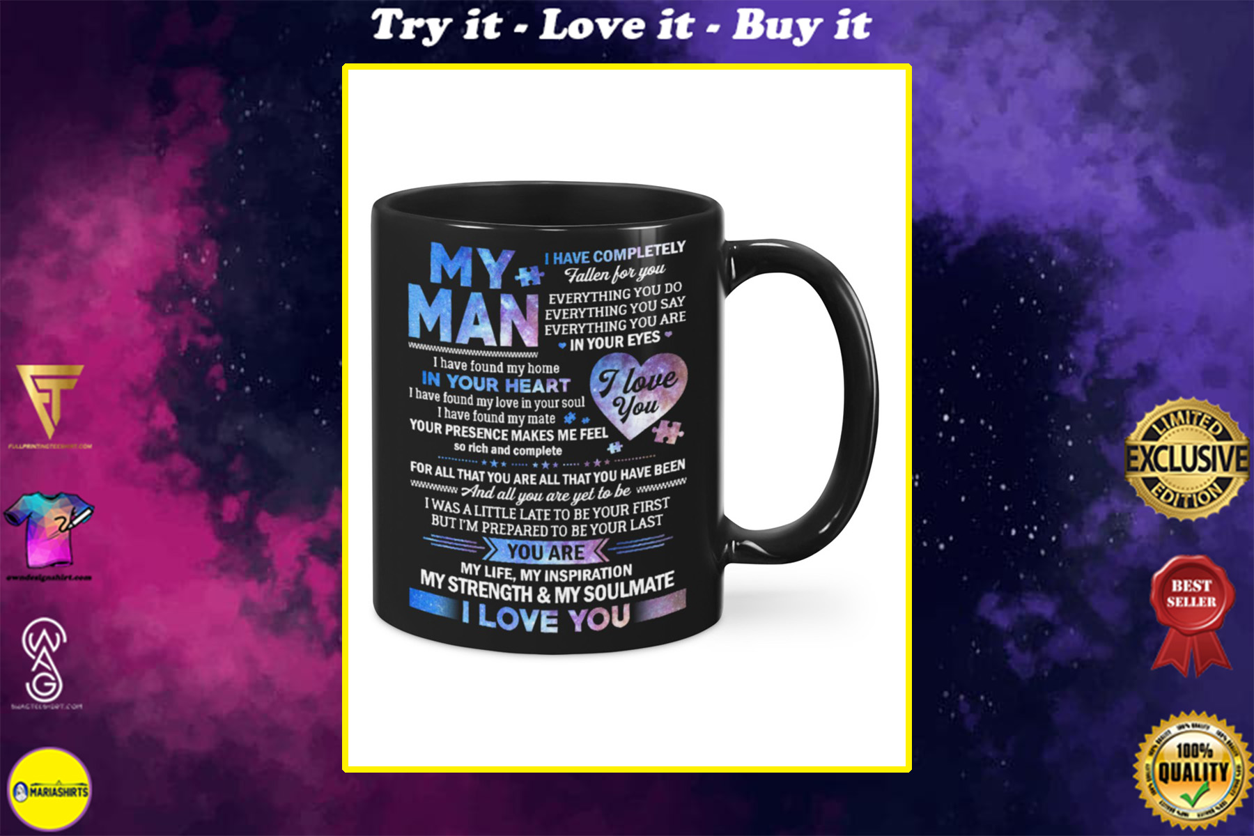 my man you are my life my inspiration my strength and my soulmate mug
