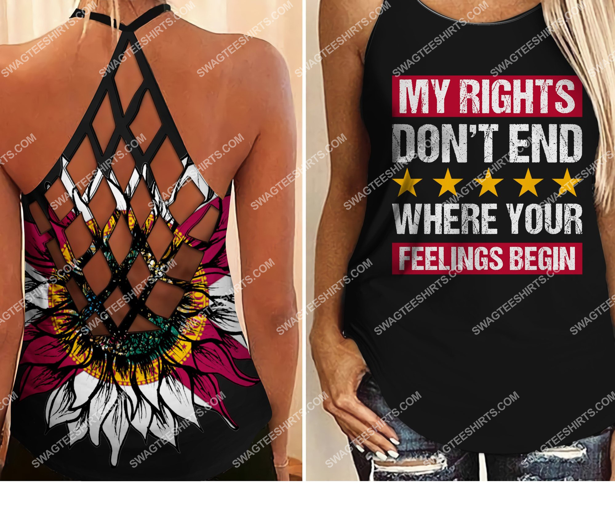 my rights don't end where your feelings begin all over printed strappy back tank top 2