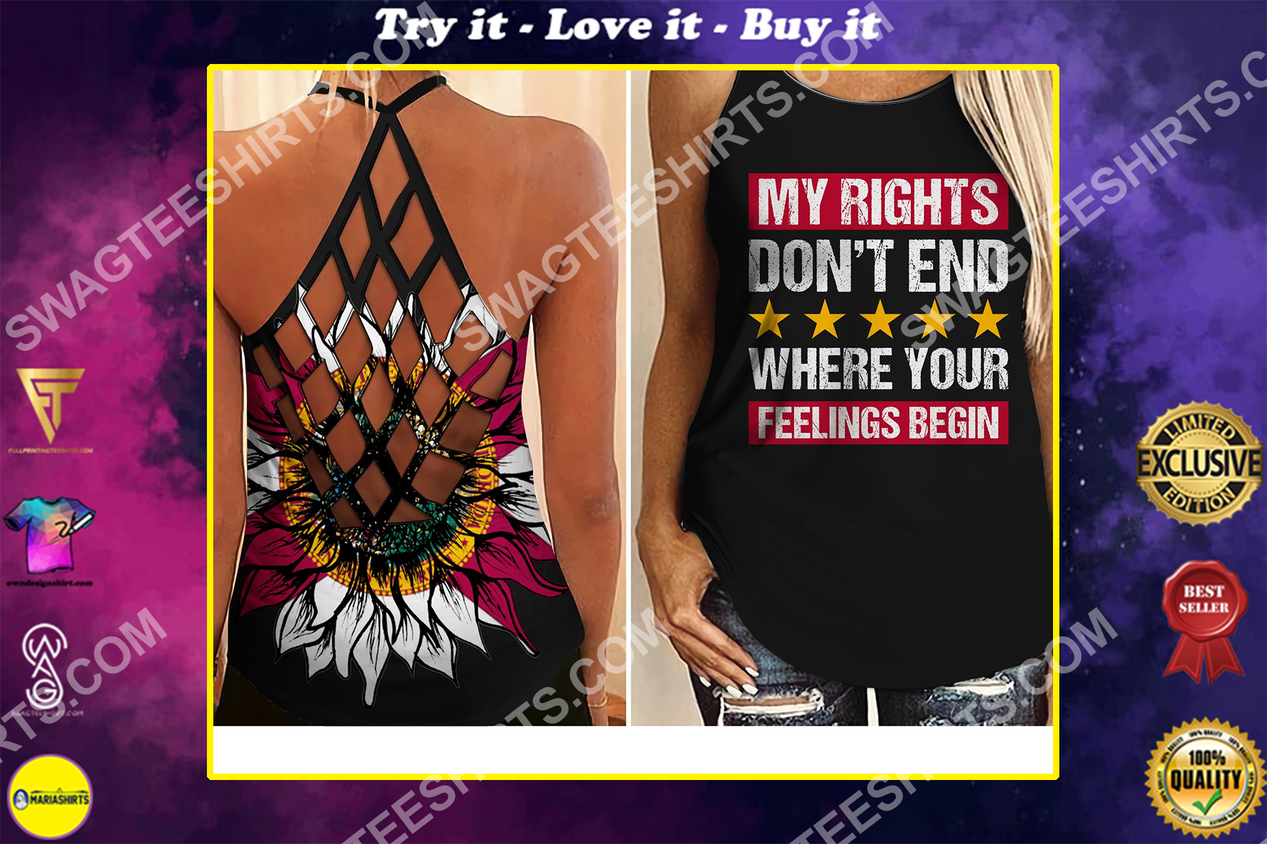 my rights don't end where your feelings begin all over printed strappy back tank top
