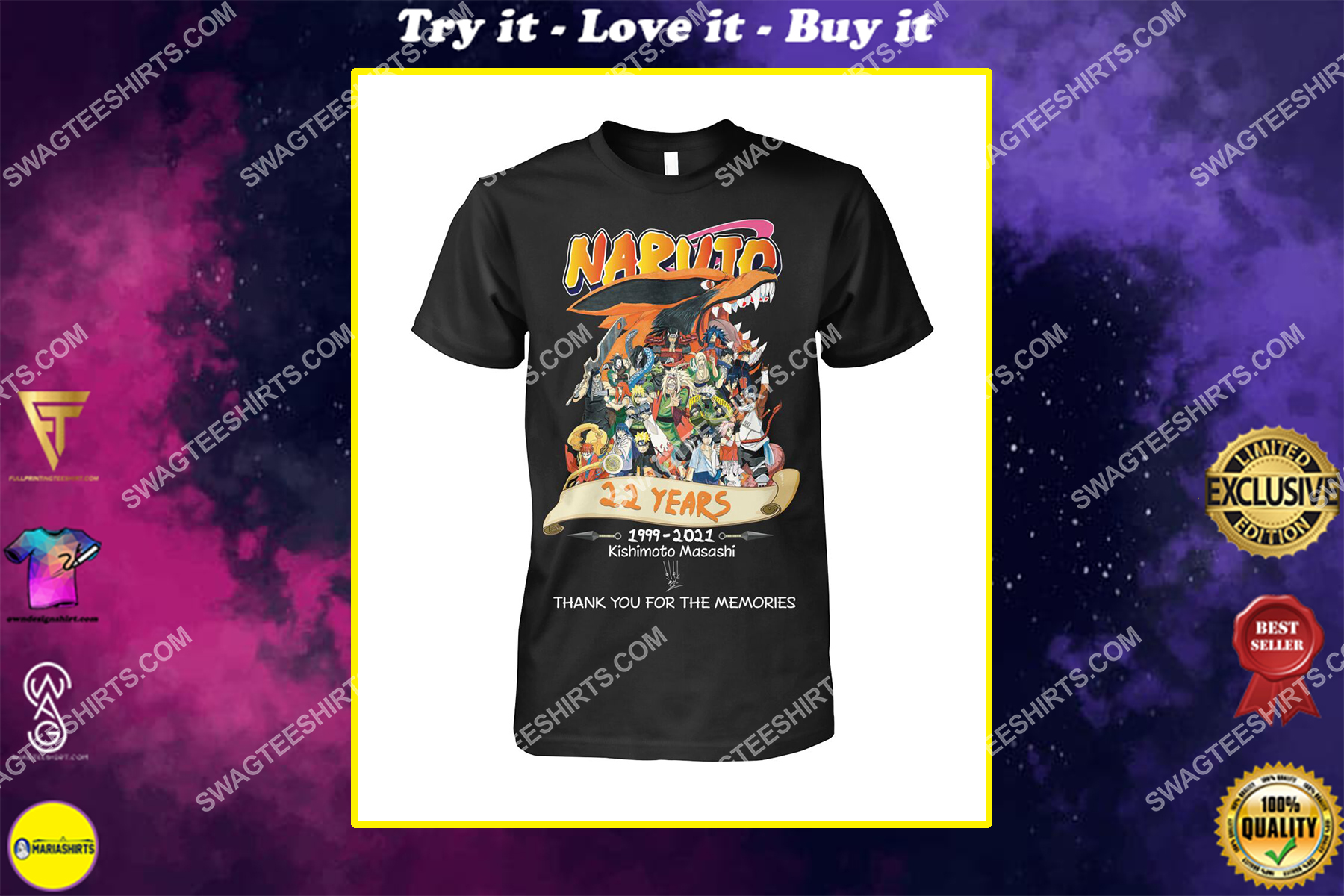 naruto 22 years thank you for memories signatures shirt