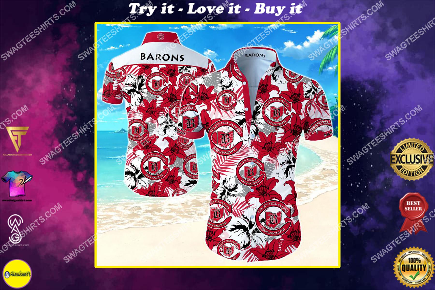 national hockey league cleveland barons hawaiian shirt