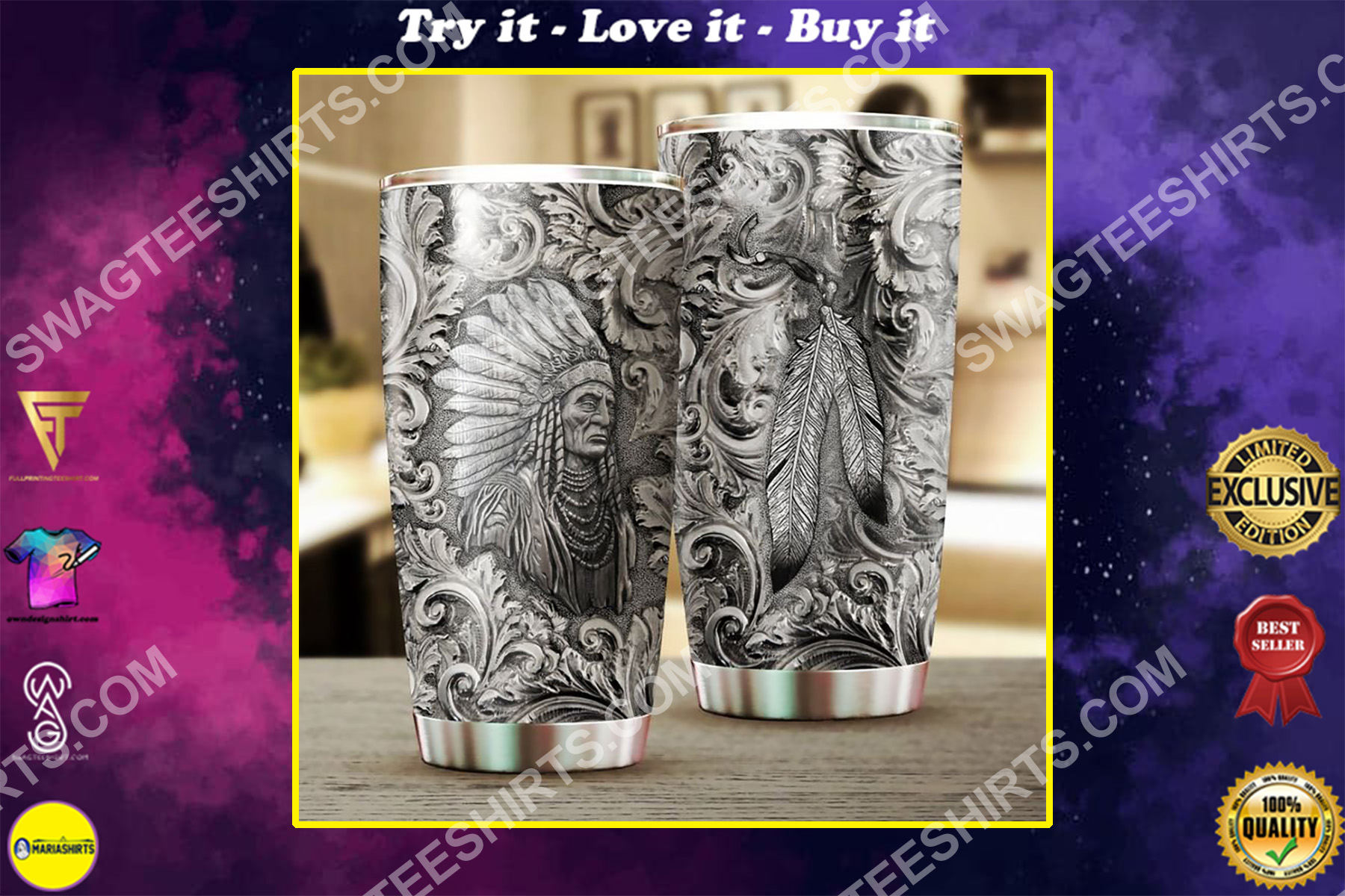 native american chief all over printed stainless steel tumbler