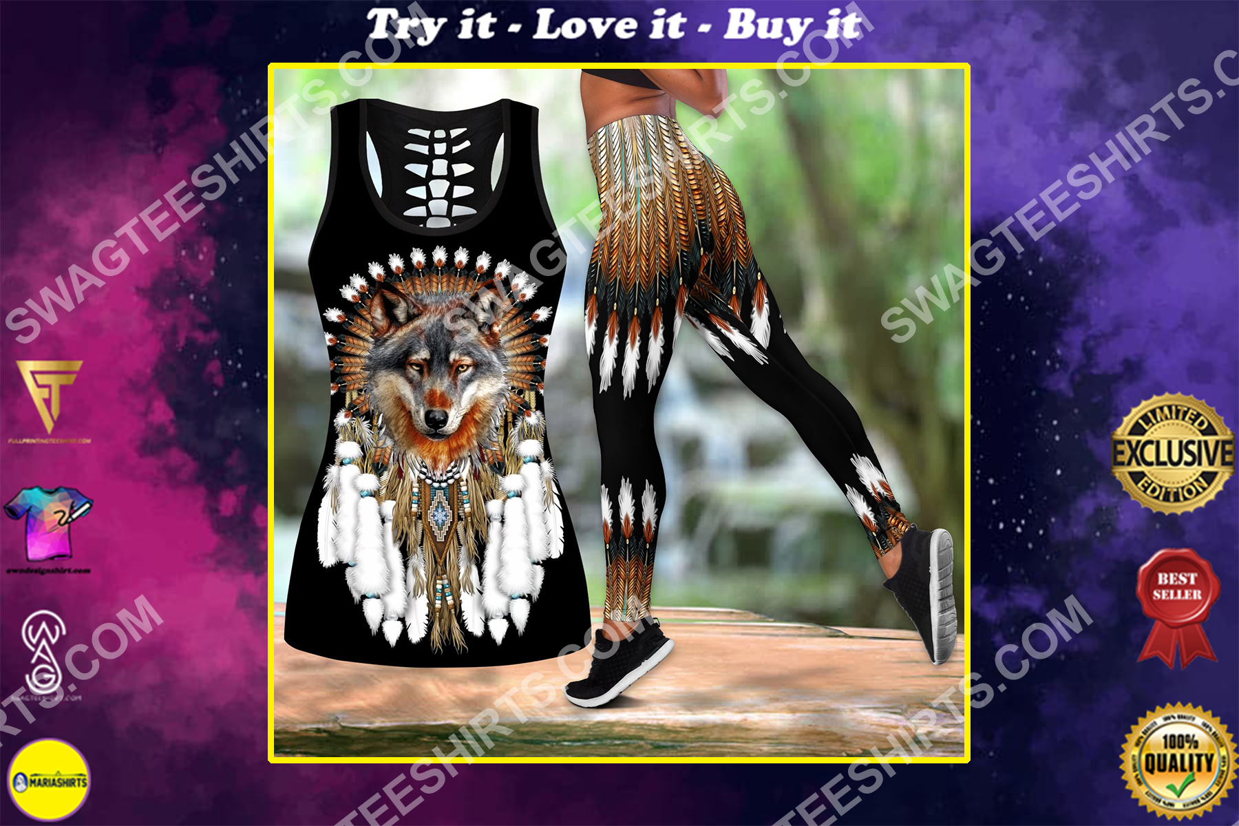 native american chief wolf all over printed set sports outfit