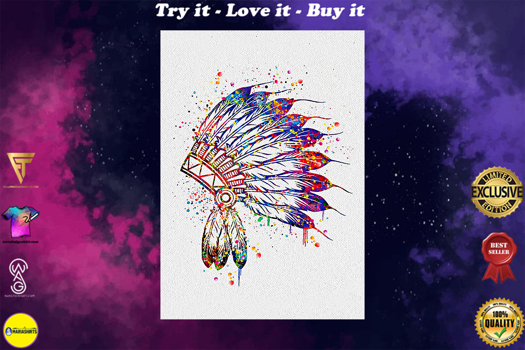 native american colorful headdress watercolor poster