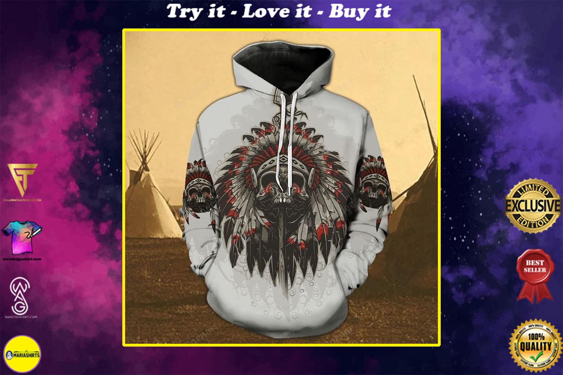 native american dead chief all over printed shirt