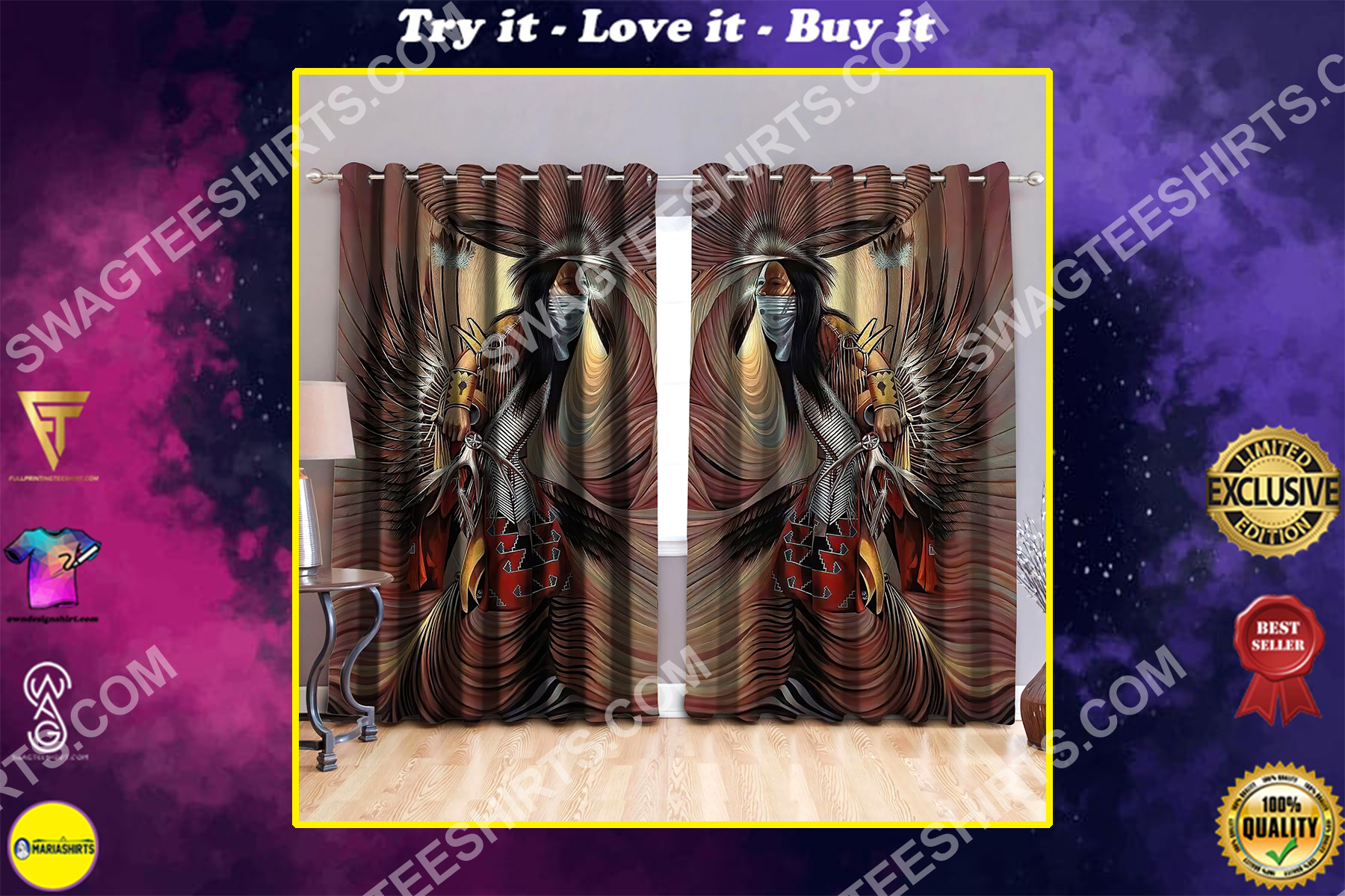 native american man all over printed window curtains
