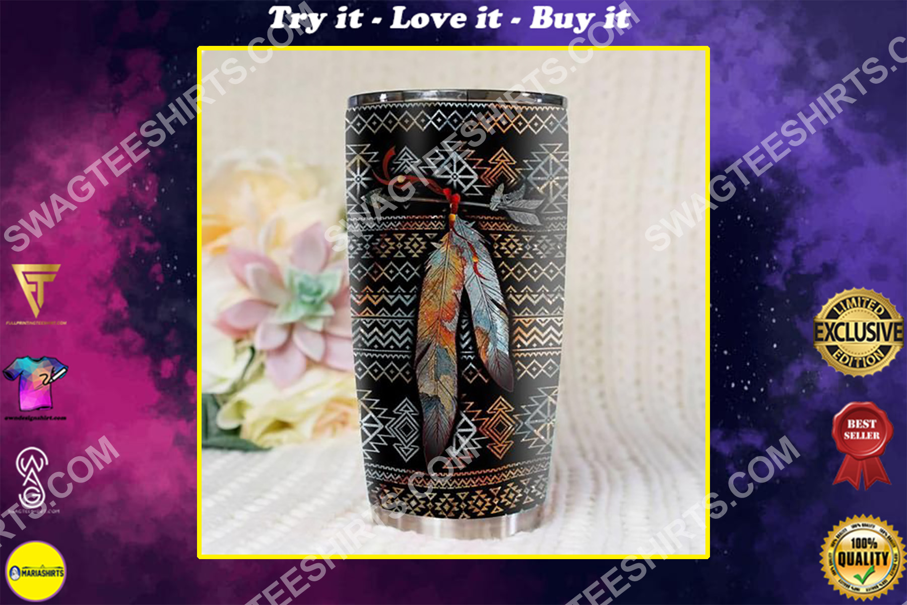 native american pattern all over printed stainless steel tumbler