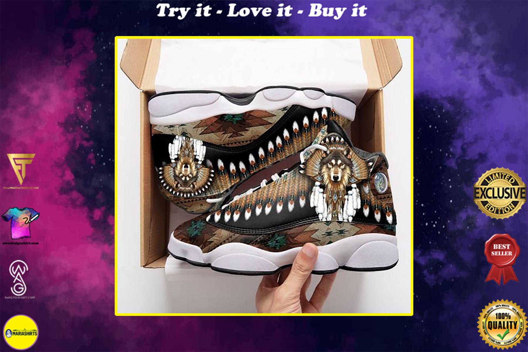 native american wolf all over print air jordan 13 sneakers