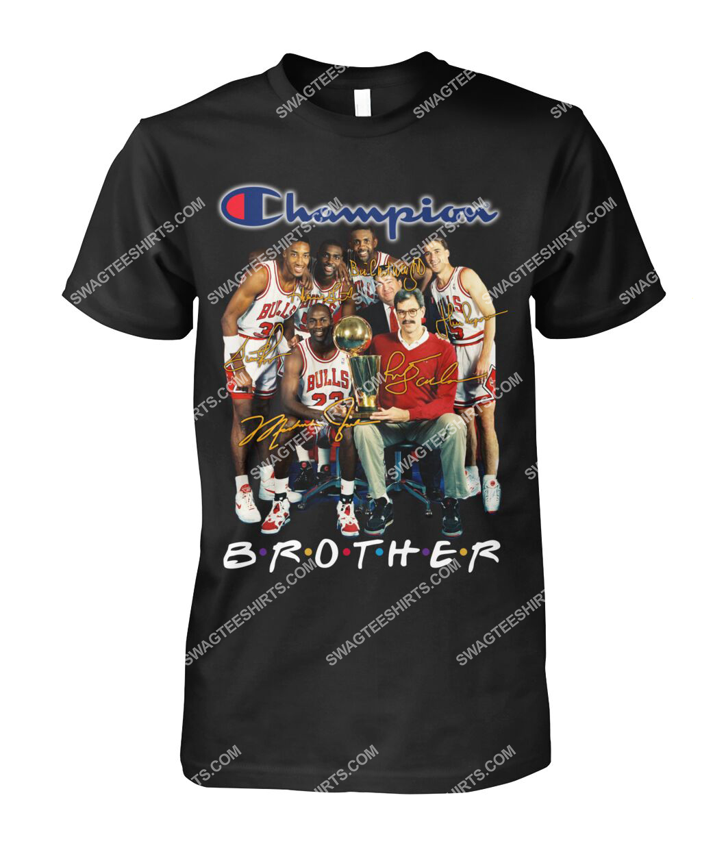 nba chicago bulls champions brother signatures tshirt 1