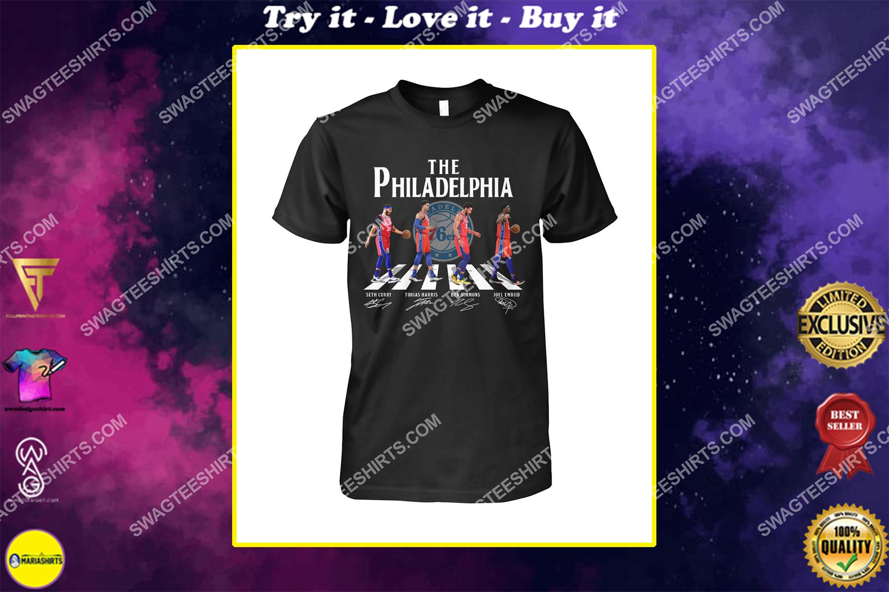 nba philadelphia 76ers signatures abbey road shirt