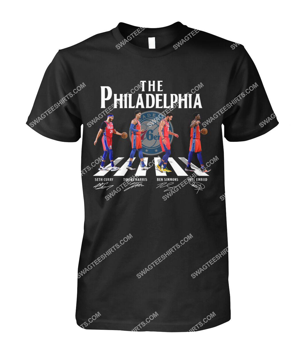 nba philadelphia 76ers signatures abbey road tshirt 1