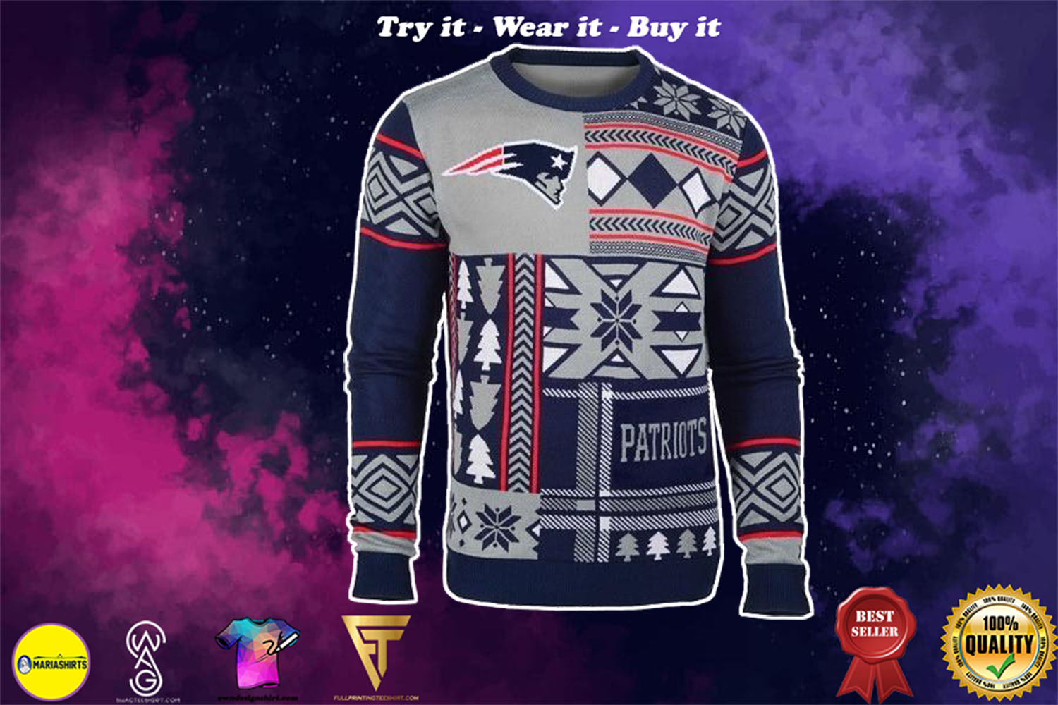new england patriots patches ugly christmas sweater