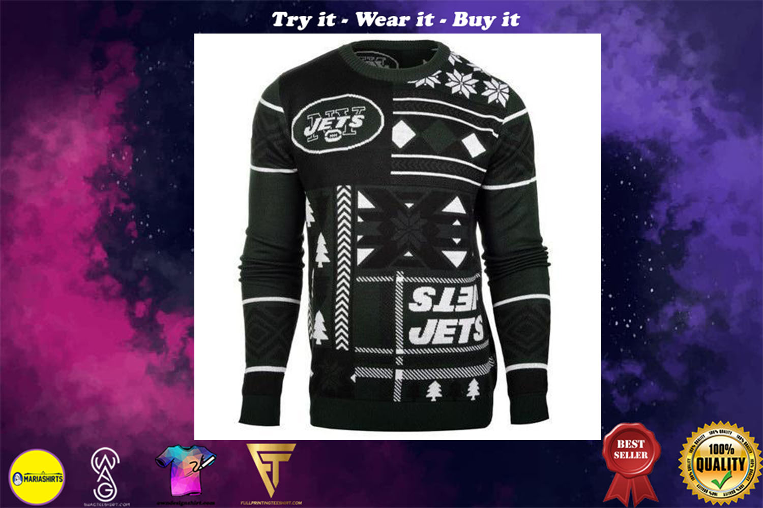 new york jets patches ugly christmas sweater