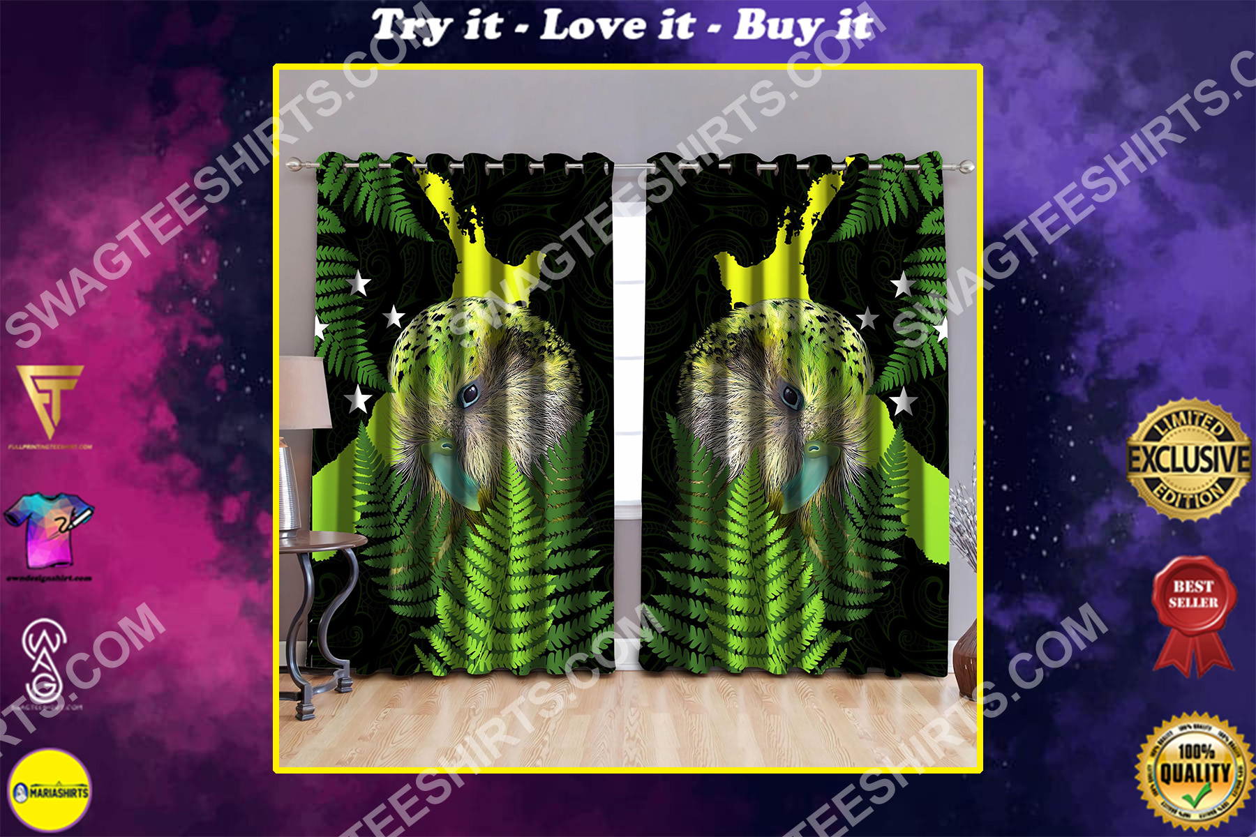 new zealand parrot all over printed window curtains