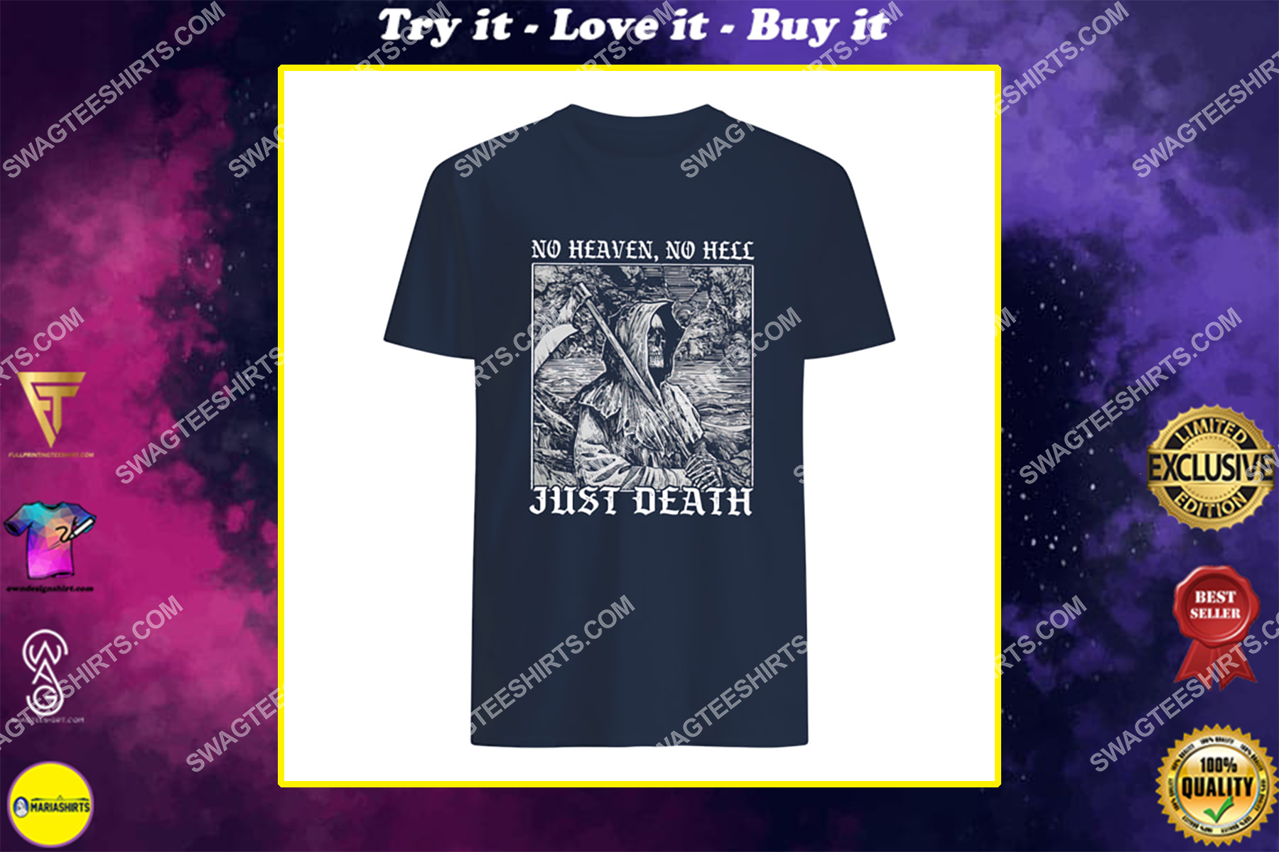 no heaven no hell just death satanic halloween shirt