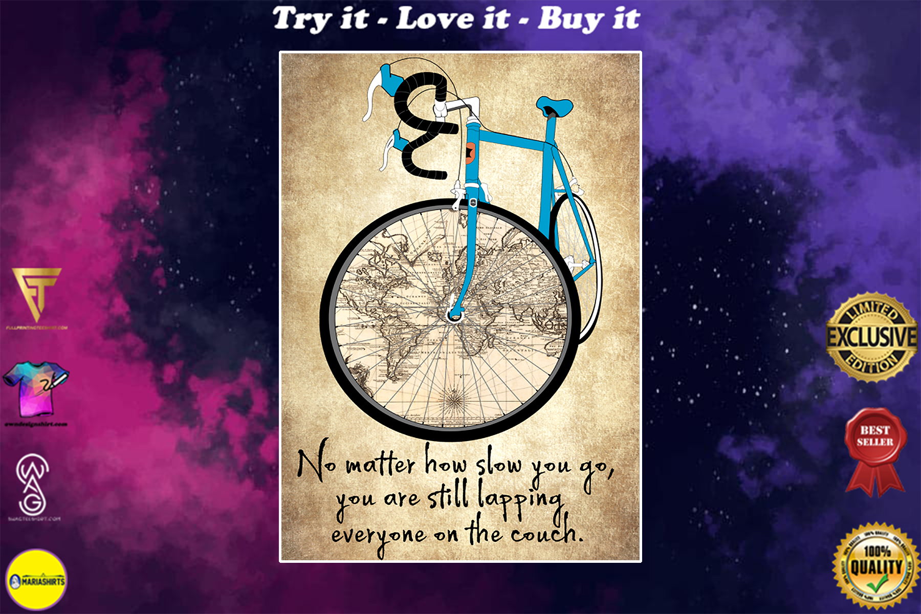 no matter how slow you go you are still lapping everyone on the couch cycling vintage poster