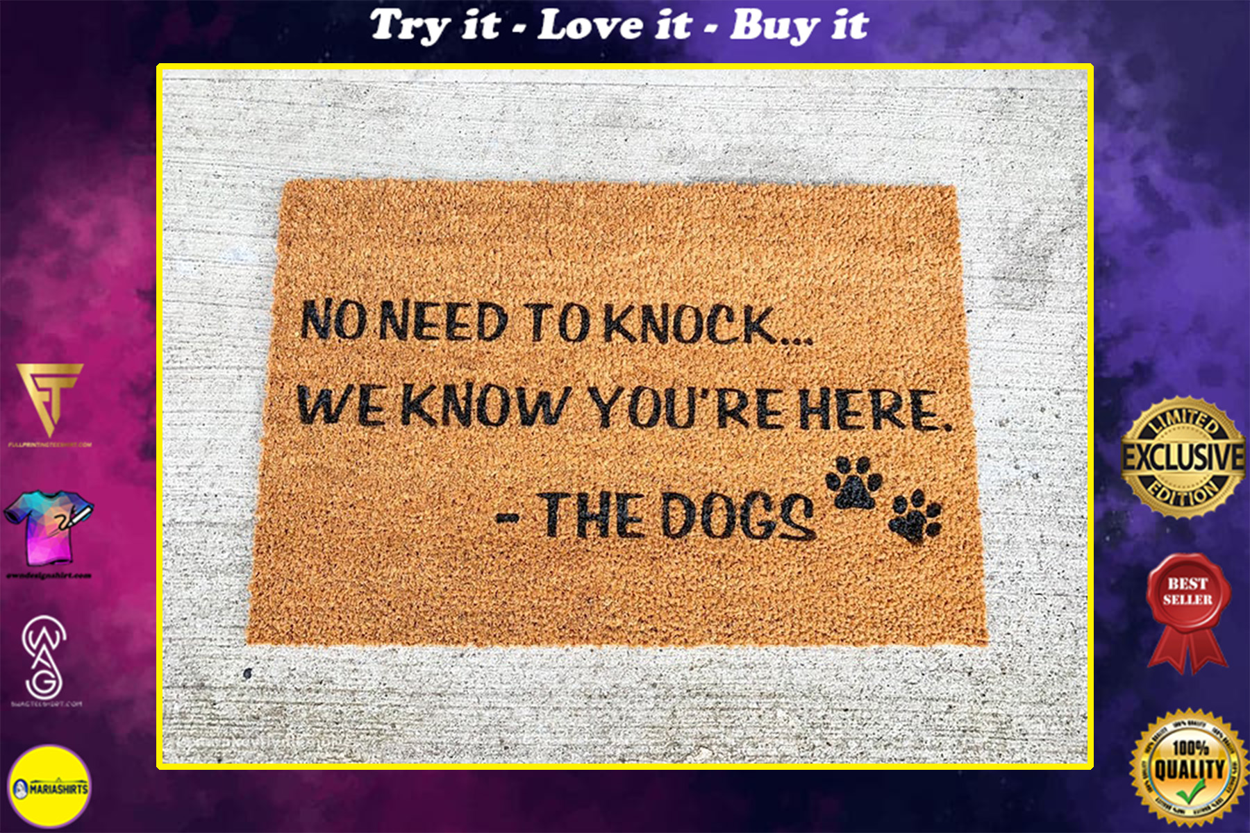 no need to knock we know you're here the dogs welcome doormat