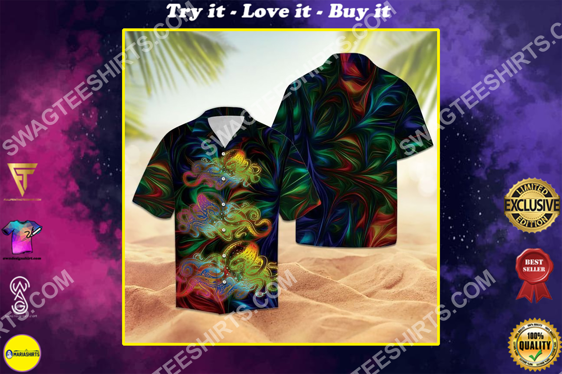 octopus colorful all over printed hawaiian shirt