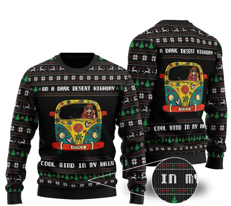 on a dark desert highway cool wind in my hair hippie girl ugly christmas sweater 2 - Copy (2)